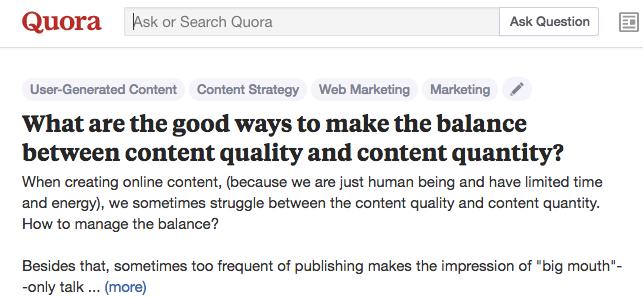 Quora question to repurpose content