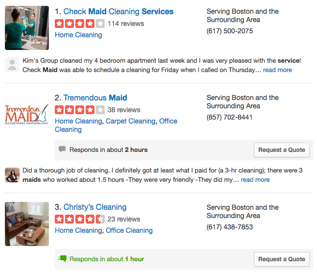 Service industry reviews