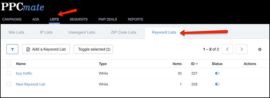 keyword and zip code targeting